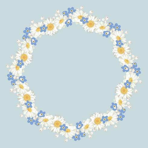 Manzanilla y olvídate del patrón de las no-flores sobre fondo azul