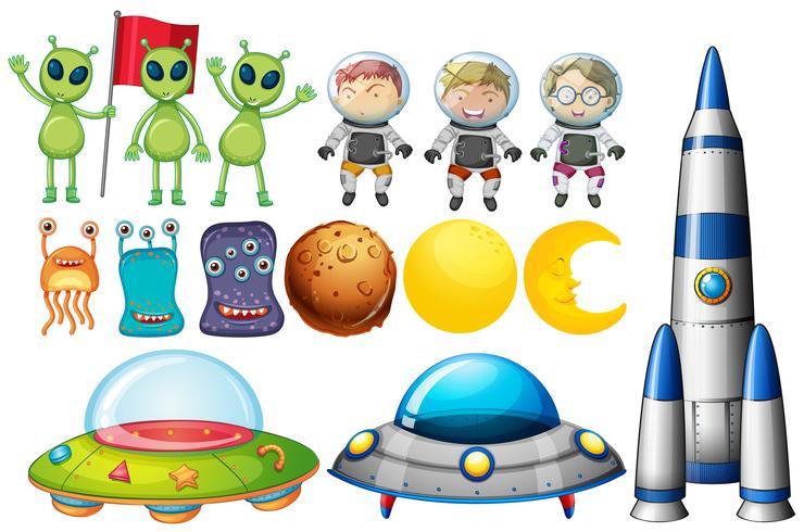 Conjunto de objetos temáticos espaciales. vector