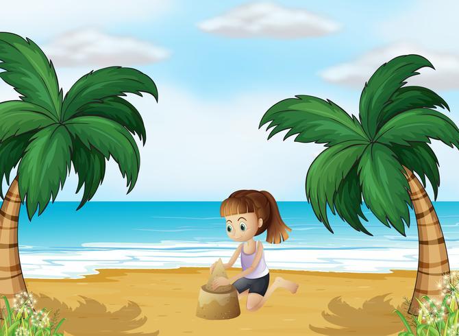 Una joven formando un castillo de arena en la playa. vector