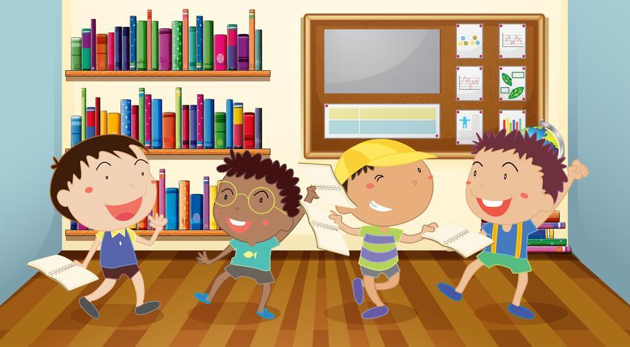 Meninos, leitura, livros, em, sala aula
