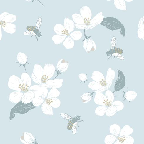 Blooming tree. Seamless pattern with flowers. Spring floral texture. Hand drawn botanical vector illustration