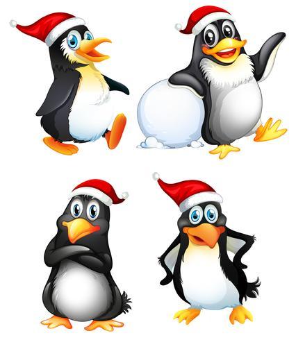 Set med söt pingvin karaktär