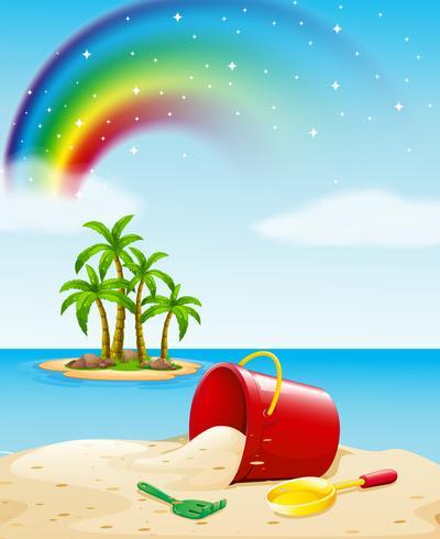 Vista al mar con juguetes en la arena. vector