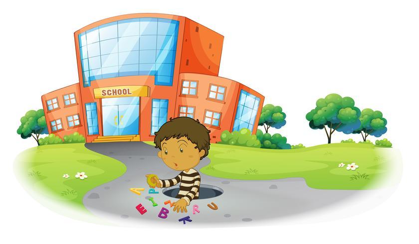 Un niño jugando frente al edificio de la escuela. vector