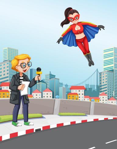 Reportero de noticias de escena urbana con superhéroe.