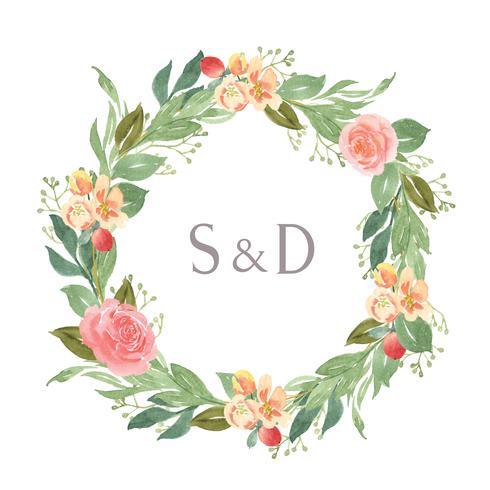 Flores de acuarela pintadas a mano con borde de marco de guirnaldas de texto, exuberante flores acuarela aislado sobre fondo blanco. Diseño de decoración de flores para la tarjeta, guardar la fecha, tarjetas de invitación de boda, cartel, diseño de banner