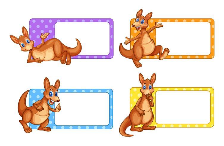Quadratische Etiketten mit Känguru