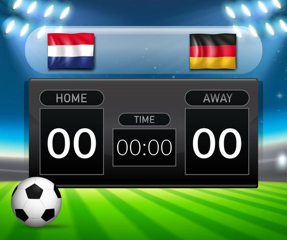 Nederland vs Duitsland voetbalscorebord sjabloon