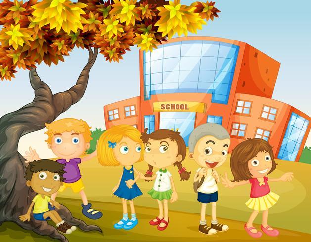 Niños colgando en el campus de la escuela. vector