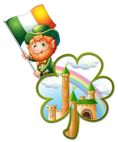 Un castillo dentro de la planta de trébol y un anciano con la bandera de Irlanda. vector