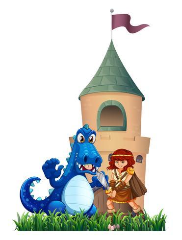Eine Frau und ein Drache außerhalb der Burg