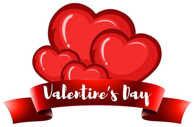 Plantilla de tarjeta de San Valentín con corazones vector