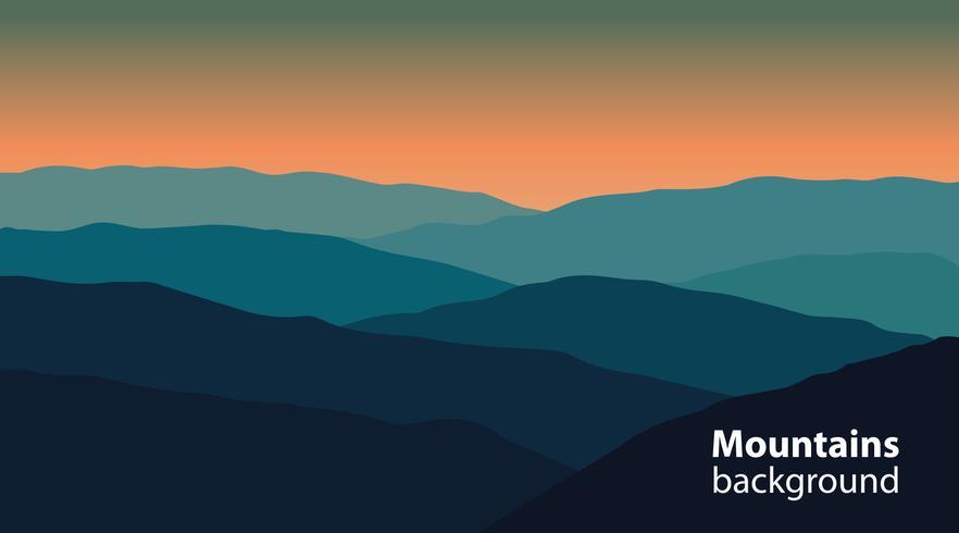 Paisaje con montañas y colinas. Deportes extremos, fondo de recreación al aire libre. vector