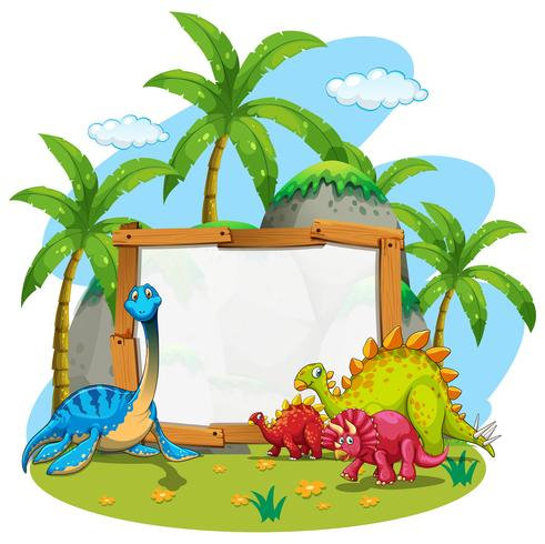 Plantilla de borde con lindos dinosaurios vector