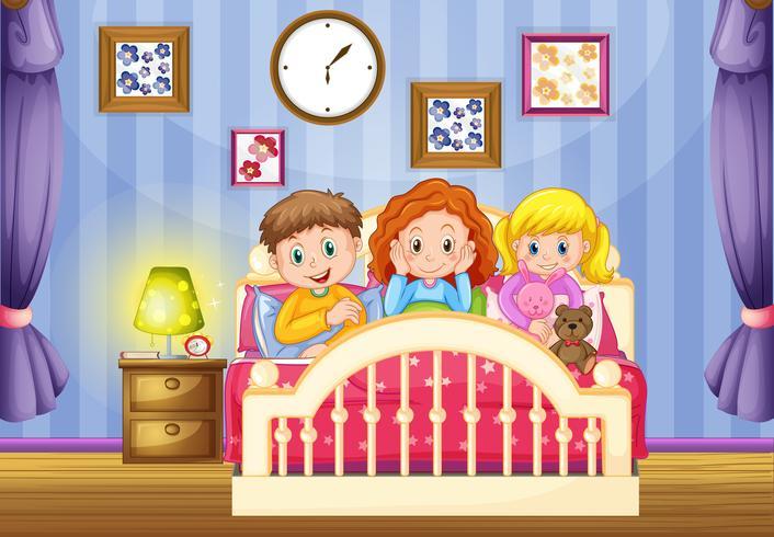 Trois enfants dans un lit rose la nuit vecteur