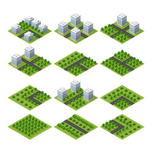 Proyección isométrica 3D del paisaje de la ciudad vista desde arriba vector