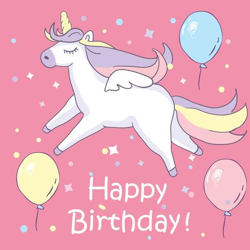 Beautyful unicorn. On pink background with baloons and happy birthday text vector
