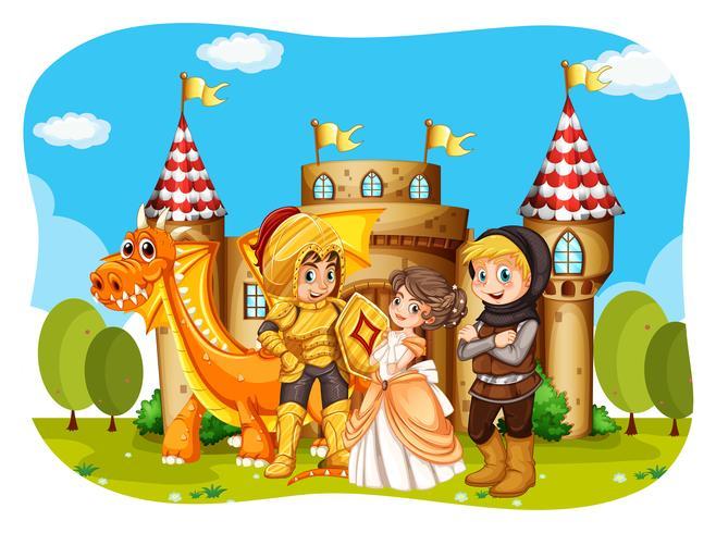 Princesa y caballeros de pie frente al castillo. vector