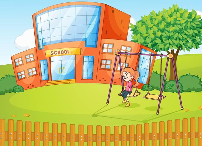 Una niña y una escuela vector