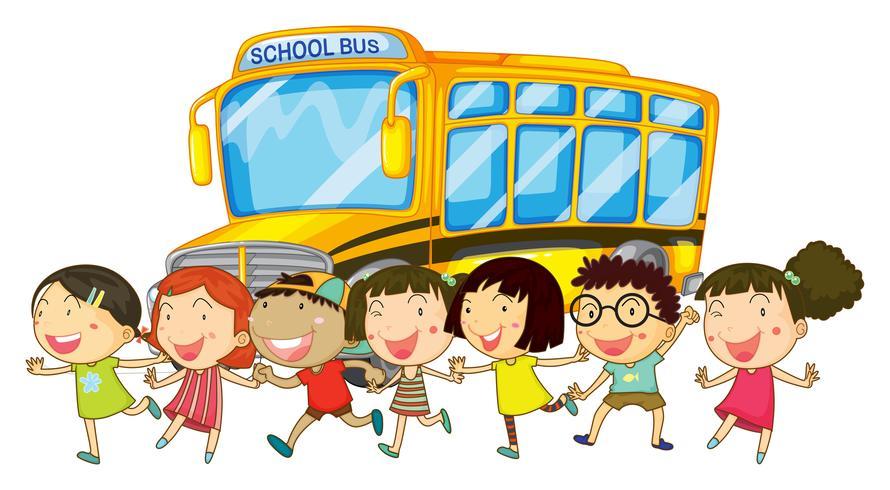 Schüler und Schulbus