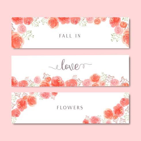Aquarel florals hand geschilderd met tekstbanner, weelderige bloemen aquarelle