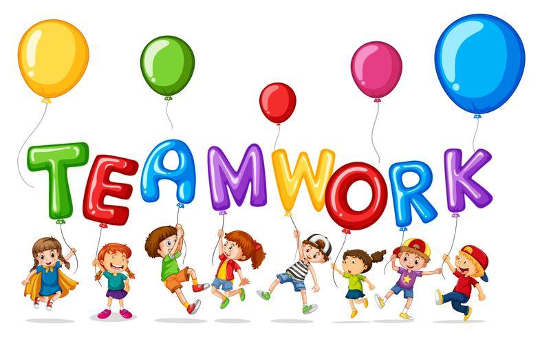 Kinderen met ballonnen voor woordsamenwerking