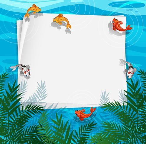 Un marco de estanque de peces vector