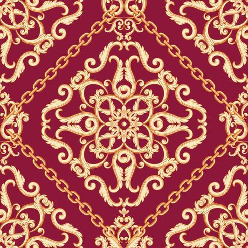 Padrão sem emenda do damasco. Bege dourado na textura roxa cor-de-rosa com correntes. Ilustração vetorial