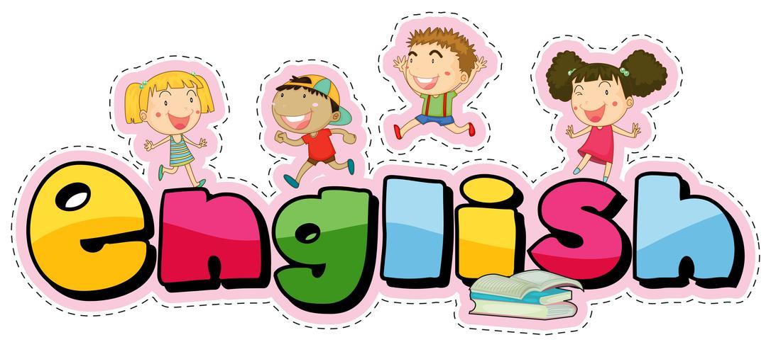Aufkleberdesign für Wort Englisch mit glücklichen Kindern vektor