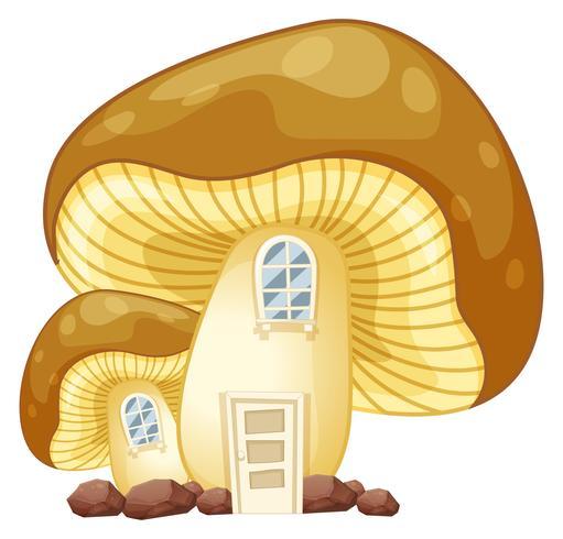Pilzhaus mit Tür und Fenstern