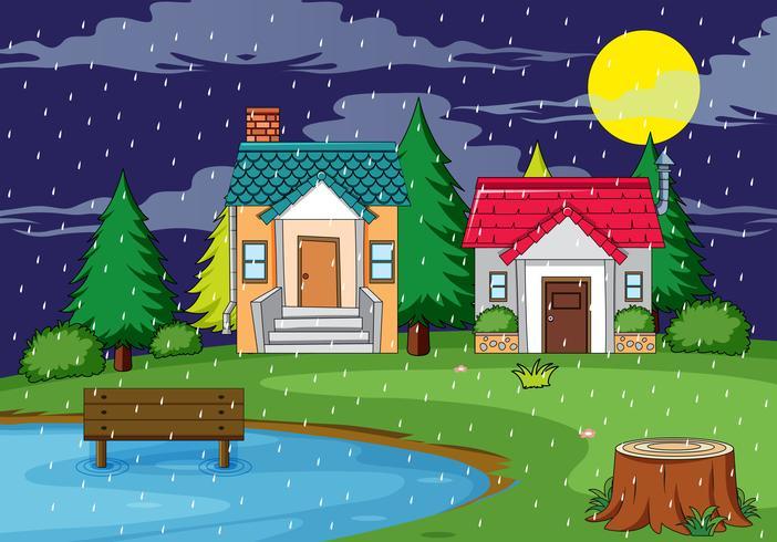 Casa rural escena de la naturaleza. vector