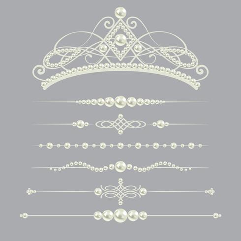 Los divisores realistas blancos de la perla fijaron la colección con la diadema aislada en fondo gris. ilustración vectorial vector