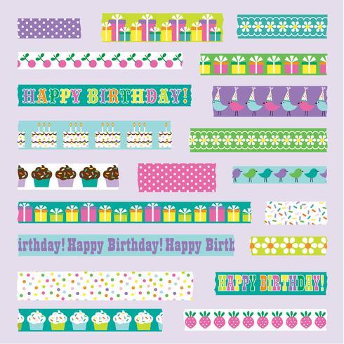 cumpleaños washi cinta vector clipart