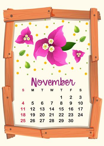 Modello di calendario per novembre vettore