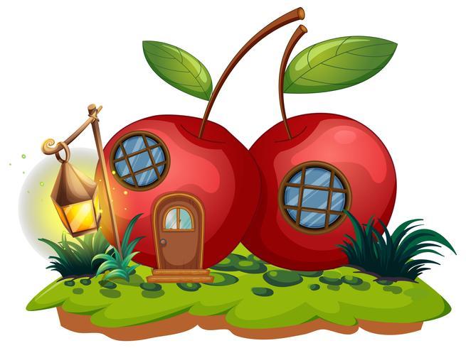 Casa delle ciliegie con lanterna vettore