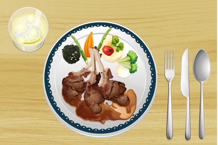 Una carne e insalata in un piatto vettore
