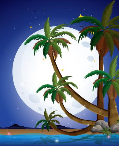 Una playa con una luna llena brillante. vector