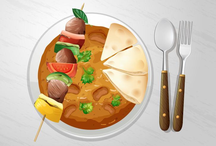Kryddig indisk curry med kebab