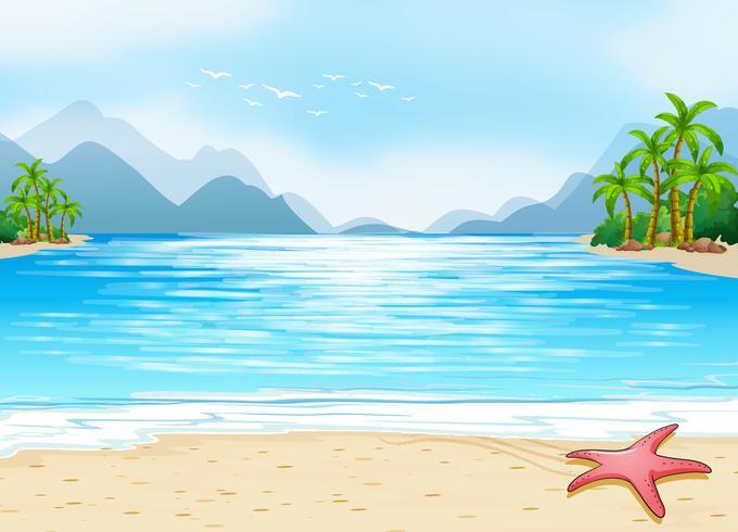 Una vista de la playa vector