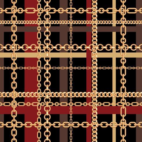 Padrão sem emenda de tartan de correntes de ouro. Ilustração vetorial