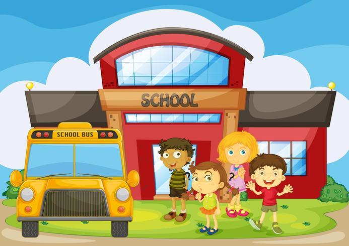 Bambini in piedi nel campus della scuola vettore