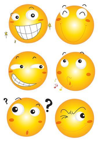 Expressões faciais em bolas amarelas
