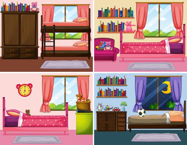 Vier verschiedene Designs von Schlafzimmern im Haus vektor