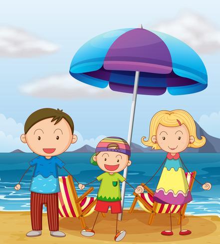 Una familia en la playa vector
