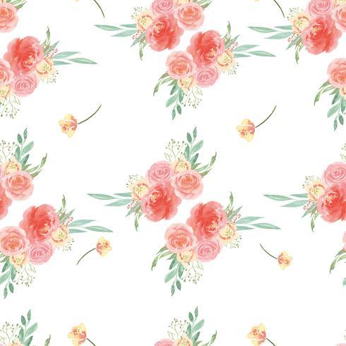 La materia textil enorme floral del vintage del estilo de la acuarela del modelo inconsútil, florece la acuarela aislada en el fondo blanco. Diseño de flores decoración para tarjeta, guardar la fecha, tarjetas de invitación de boda, cartel, diseño de bann vector