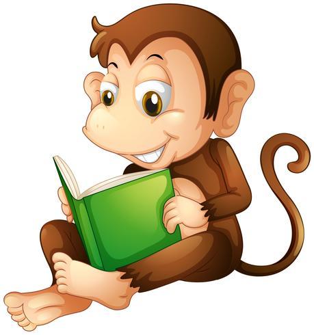 Una scimmia che si siede mentre legge un libro