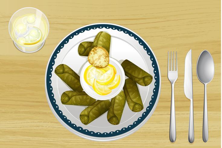 En sallad i en maträtt vektor