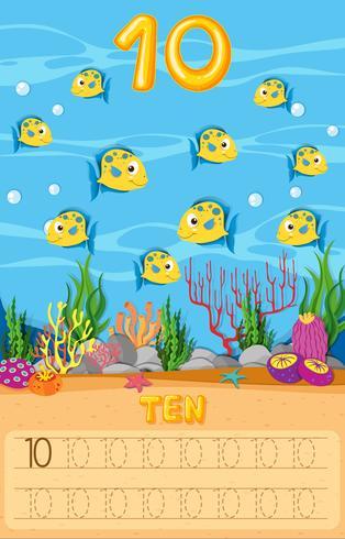 Hoja de trabajo submarina de diez peces vector
