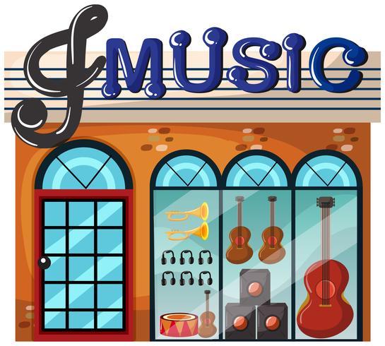 Un negozio di musica su sfondo bianco vettore