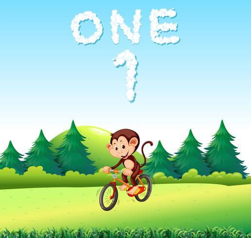 Un mokey montando bicicleta en el parque vector